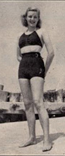 Girl in thirties-era two-piece swimsuit.