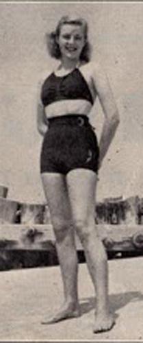 Girl in thirties-era two-piece swimsuit.