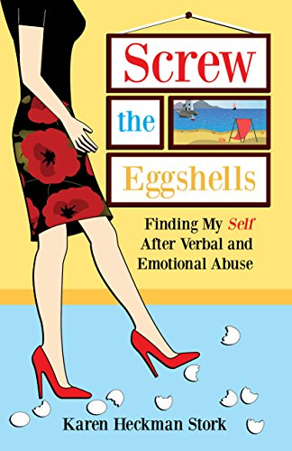 Karen's book cover with a woman walking in eggshells wearing red spike heels.
